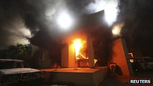 US consulate in Benghazi on fire. 11 Sept 2012