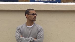 Aaron French outside HMP Pentonville