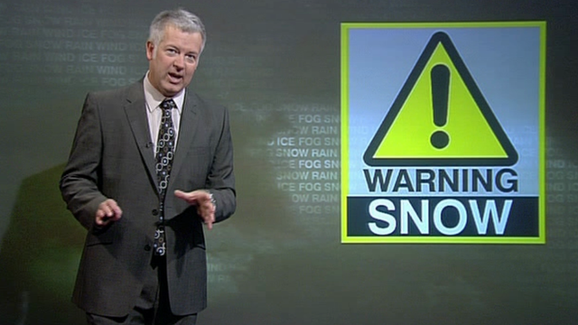 Derek Brockway delivering snow warning for Wales