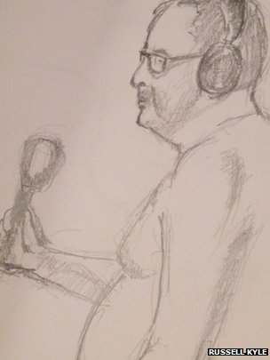 Sketch of reporter holding microphone
