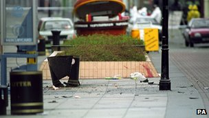 Aftermath of IRA bomb in Warrington in 1993