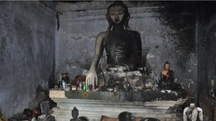 Photos of damaged Buddhist temples