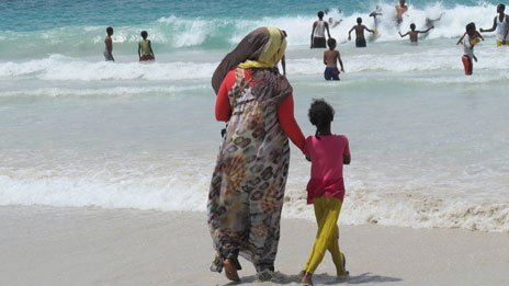 People at the beach in Mogadishu, Somalia