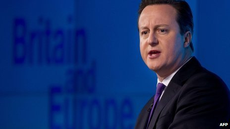 "David Cameron delivers a speech on ""the future of the European Union and Britain""s role within it""."