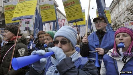 Protesters march during public sector workers' strike in Ljubljana - 23 January
