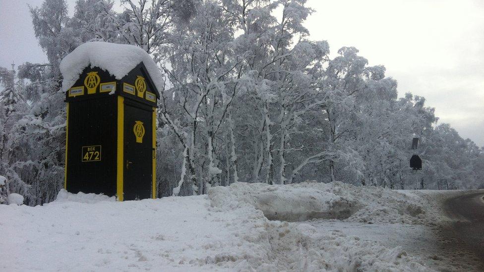AA box in snow