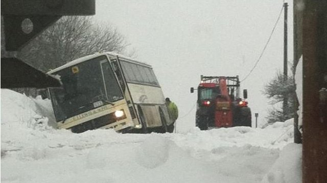 This school bus came off the road in snow in Pembrokeshire but the 40 pupils on board were all safe