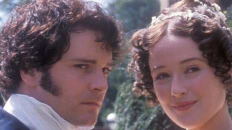 Colin Firth as MrDarcy and Jennifer Ehle as Elizabeth Bennet in the BBC adaptation of Jane Austen&#039;s Pride and Prejudice