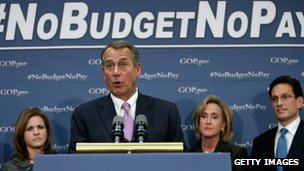 Speaker of the House John Boehner speaks to reporters after a House GOP Conference meeting at the US Capitol 22 January 2013
