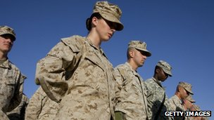Lieutenant Colleen Farrell stands in formation during a ceremony for the 235th birthday of the Marines on 10 November 2010