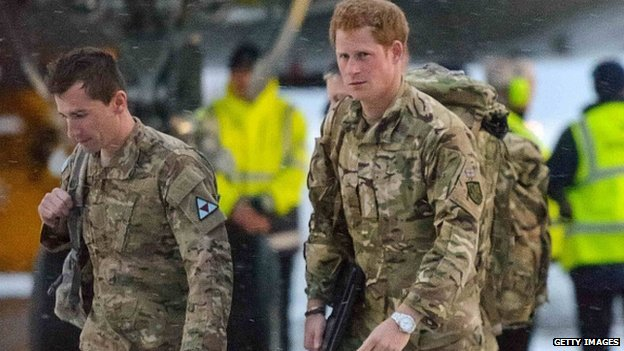 Prince Harry arriving back in the UK from Afghanistan