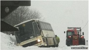 School bus which slid off the road near Maenclochog in Pembrokeshire