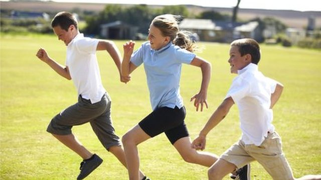 Children running (posed by models)