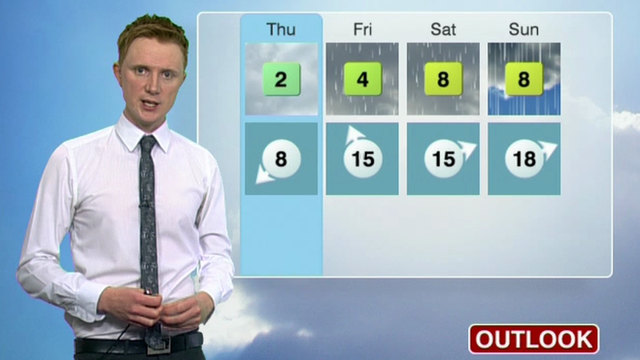 Owain Wyn Evans gives Thursday&#039;s forecast for Wales