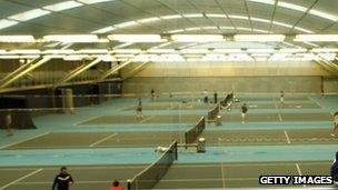 Inside the LTA's national tennis centre at Roehampton