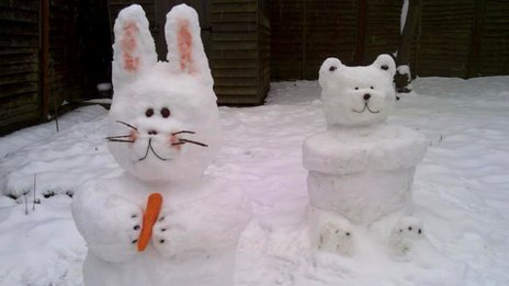 Snow rabbit and bear