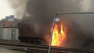 The train on fire in Salford