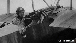 German fighter pilot Hermann Goering in the cockpit of a Fokker DR1, circa 1916