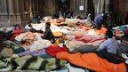 Asylum-seekers inside the Votivkirche, Vienna, 23 January