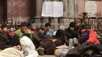 Asylum-seekers inside the Votivkirche, Vienna, 28 December 2012