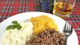 Haggis with neeps and tatties and whisky for Burns Night