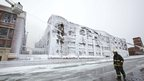 Ice covered building