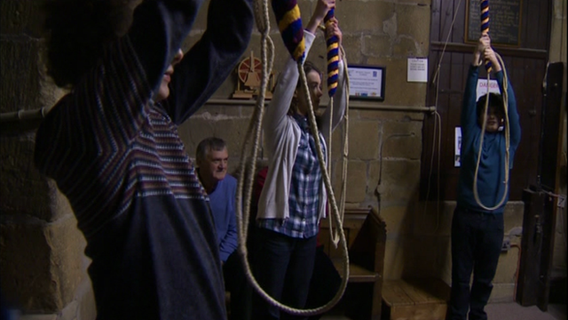 Young bell ringers at All Saints Church near Wrexham