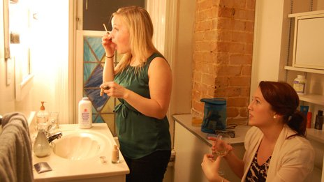 Jillian Rae Greenwood putting her make up on before going out with her friend Sydney in Ottawa, Canada
