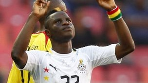 Mubarak Wakaso celebrates scoring for Ghana
