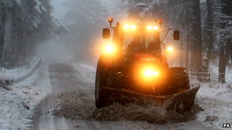 Clearing snow from road