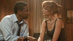 Denzel Washington and Kelly Reilly in Flight. Copyright Paramount Pictures.