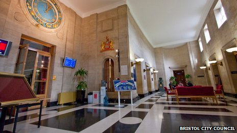The foyer at Council House, the headquarters of Bristol City Council