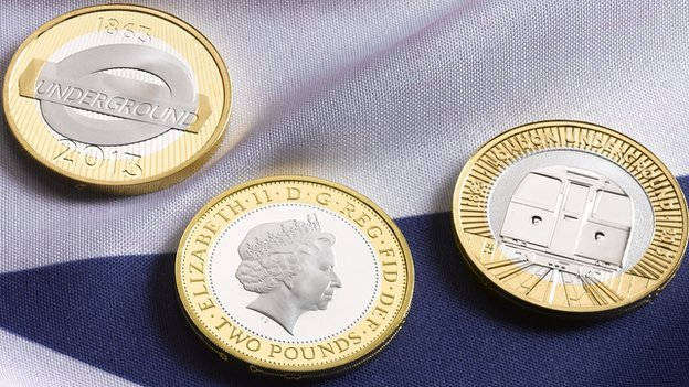 The commemorative coins marking the Tube's 150th anniversary