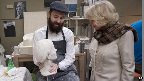 Nicholas Thompson showed a plaster portrait bust he was working on to the Duchess of Cornwall