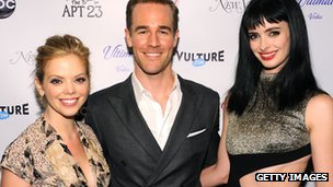 Dreama Walker, James Van Der Beek and Krysten Ritter