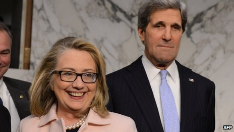 US Senator John Kerry (right) with US Secretary Hillary Clinton on Capitol Hill in Washington DC on 24 January 2013