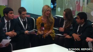 Cedar Mount pupils with Newsround's Haley Cutts
