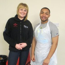 Prince&#039;s Trust team leader Jayde Day with Tyrone Stanley 