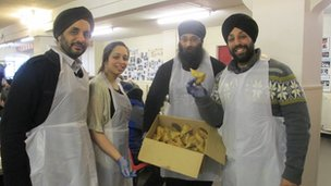 Volunteers from left Raja, San, Manjit and Mani
