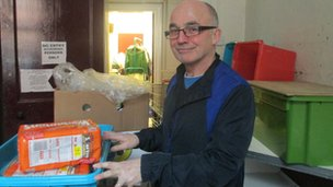 Brother Stephen with food crate
