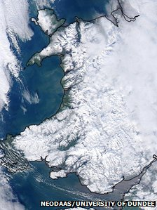 Satellite image showing snow cover in Wales on Thursday afternoon
