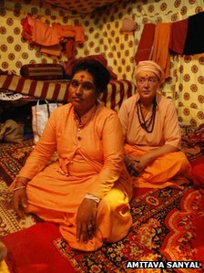 Frenchwoman Sangam Giri sitting behind her guru Aradhana Giri Mai