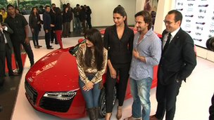 Indian movie stars at the launch of an Audi car