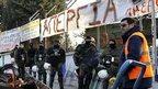 Riot police block Athens metro depot entrance, 25 Jan 13