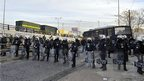 Police block access to an Athens metro depot. 25 Jan 2013