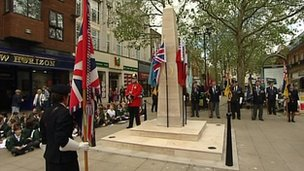 Peterborough&#039;s war memorial during dedication