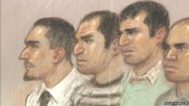 Court drawing of suspects