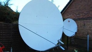 The two metre satellite dish in Gary Goodger&#039;s garden