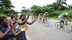 Tropicale Amissa Bongo cyclists riding between Lambarene and Kango in Gabon - Saturday 19 January 2013