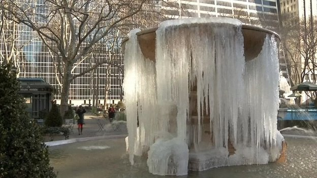 Frozen fountain in New York